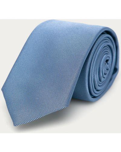 Niebieski krawat z jedwabiu Hugo