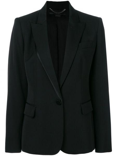 Шелковый черный приталенный удлиненный пиджак Stella Mccartney