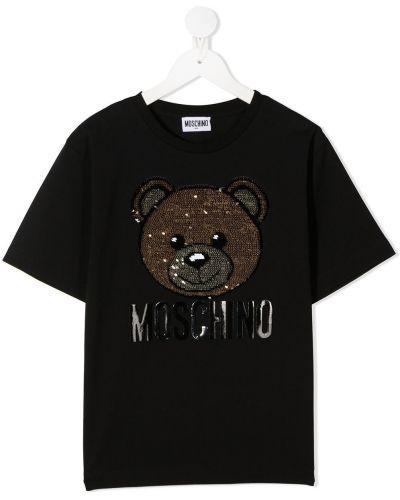 Хлопковая с рукавами черная футболка Moschino Kids