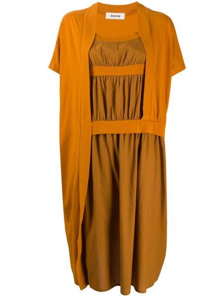 Платье мини короткое - коричневое Zucca