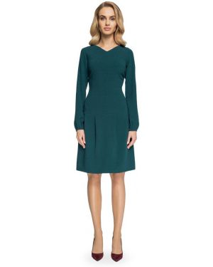 Zielona sukienka mini z długimi rękawami z wiskozy Stylove