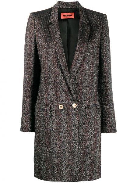 Шерстяное черное длинное пальто двубортное Missoni