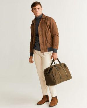 Кожаная куртка короткая - коричневая Mango