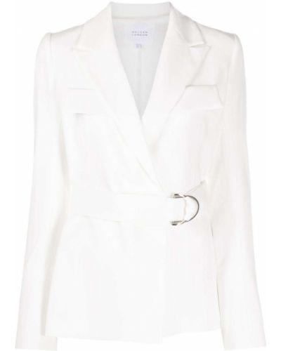 С рукавами белая длинная куртка с отворотом с карманами Galvan