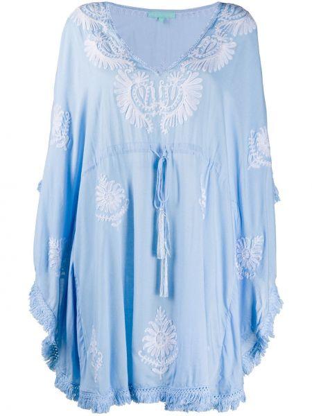 С рукавами синий кафтан с вышивкой с вырезом Melissa Odabash