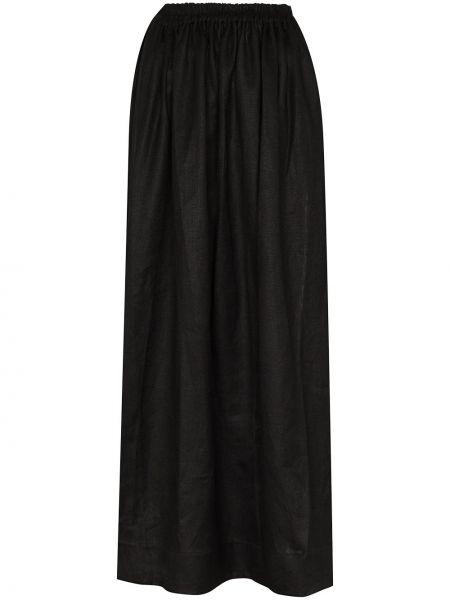 Черная льняная юбка макси на резинке круглая Matteau