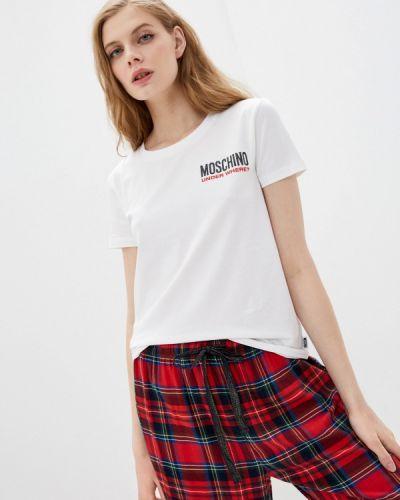 С рукавами белая футболка Moschino Underwear