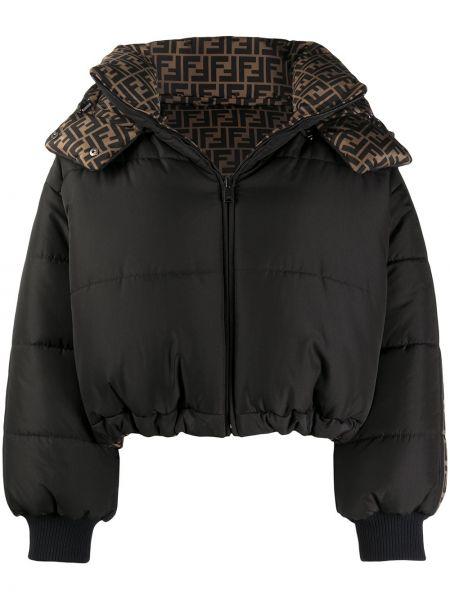 Puchaty czarny kurtka z mankietami z logo Fendi