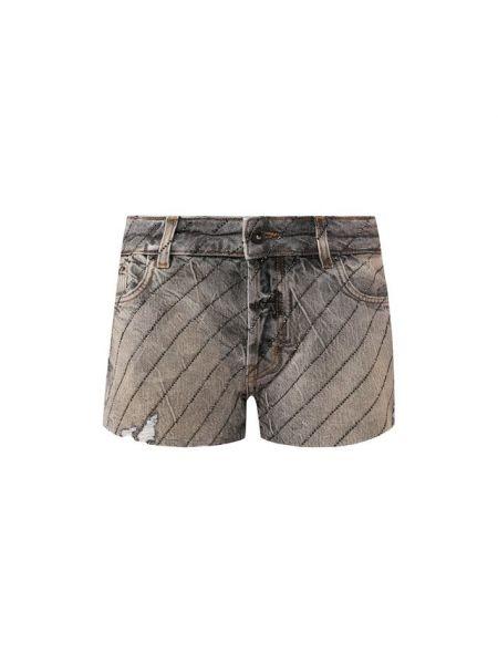 Хлопковые серые джинсовые шорты со стразами Filles A Papa