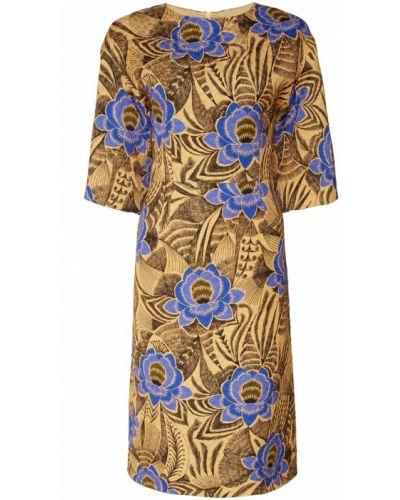 Платье миди с цветочным принтом с вырезом Dries Van Noten