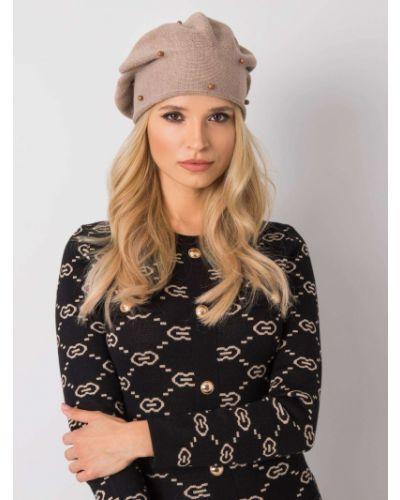 Beżowy beret z akrylu Fashionhunters