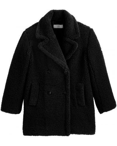 Черное пальто с воротником на пуговицах La Redoute
