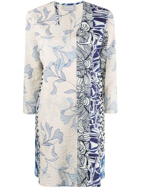 Платье трапеция в цветочный принт с вырезом Pierre-louis Mascia