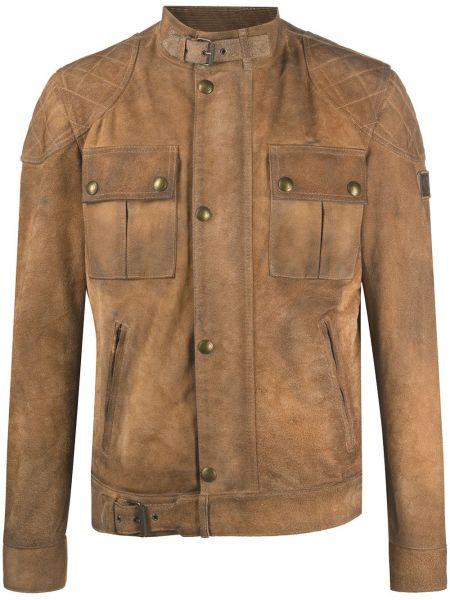 Brązowy skórzany pikowana kurtka z kieszeniami z ozdobnym wykończeniem Belstaff