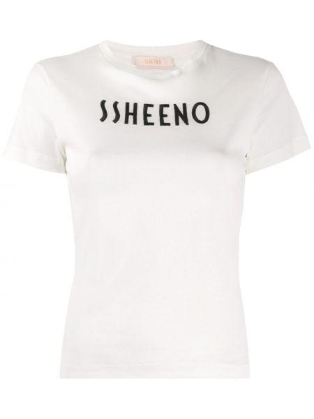 Хлопковая с рукавами белая футболка Ssheena