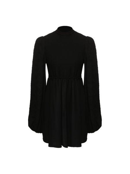 Черное плиссированное платье со складками из вискозы Wandering
