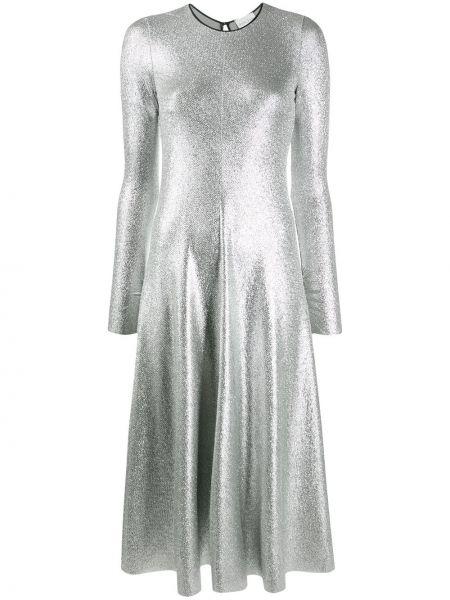 Расклешенное серебряное с рукавами платье миди Forte Forte