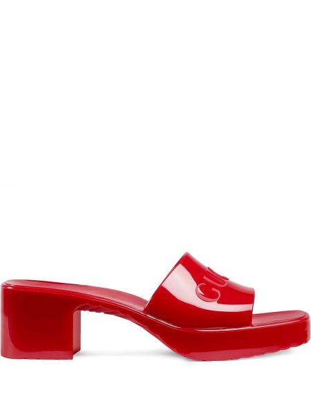Sandały otwarty palec u nogi kwadratowy plac na pięcie Gucci