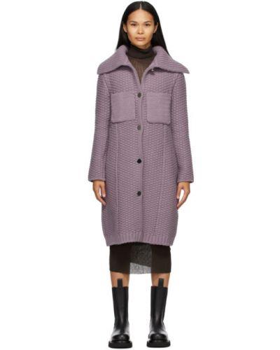 Шерстяное длинное пальто с воротником с карманами Bottega Veneta