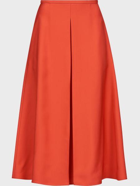 Красная юбка на молнии из вискозы Rochas