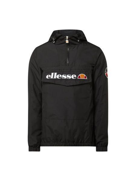 Czarny krótka kurtka z kapturem ze stójką z zamkiem błyskawicznym Ellesse