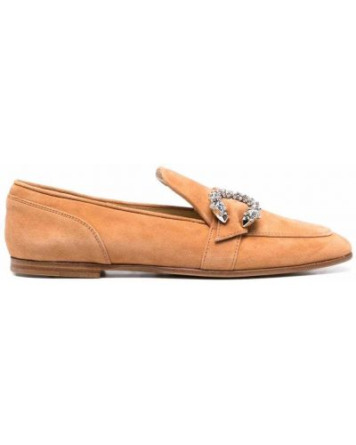 Loafers zamszowe - brązowe Jimmy Choo