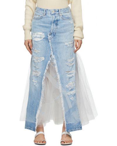 Джинсовая юбка макси из фатина Unravel