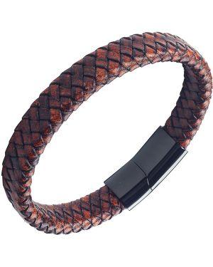 Плетеный браслет черный кожаный Anton Smith