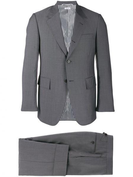 Шерстяной костюмный костюм на пуговицах со складками Thom Browne