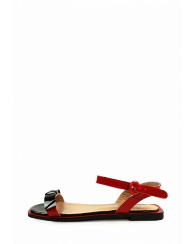 Лаковые кожаные красные сандалии Aquamarin