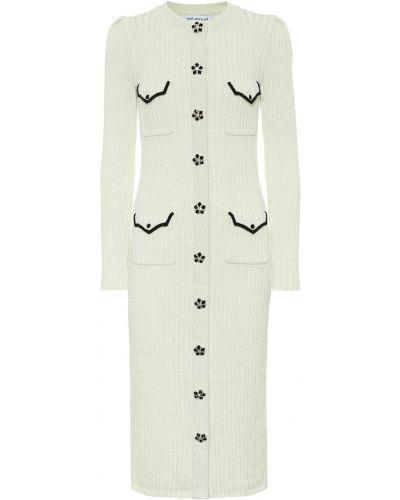 Шерстяное теплое белое платье миди Self-portrait