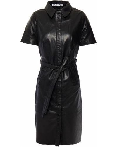 Кожаное черное платье мини с поясом Walter Baker