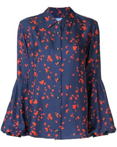 Блузка шелковая синяя Macgraw