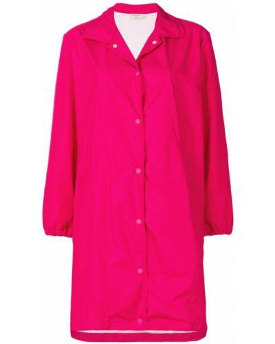 Розовое пальто с капюшоном Maison Kitsuné