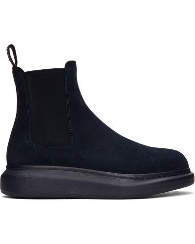 Синие ботинки на каблуке Alexander Mcqueen