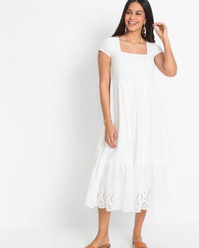 Белое платье миди Bonprix