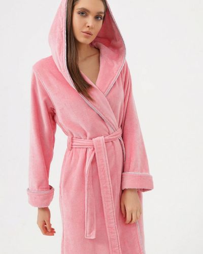 Розовый домашний махровый халат Luisa Moretti