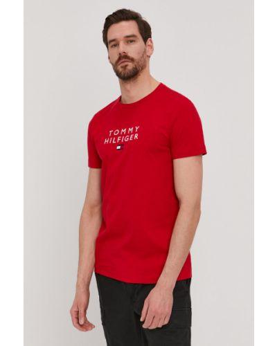 Czerwony t-shirt bawełniany z printem Tommy Hilfiger