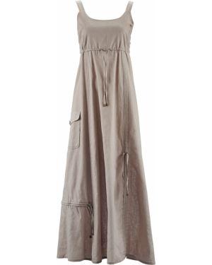 Платье макси серое с поясом Bonprix
