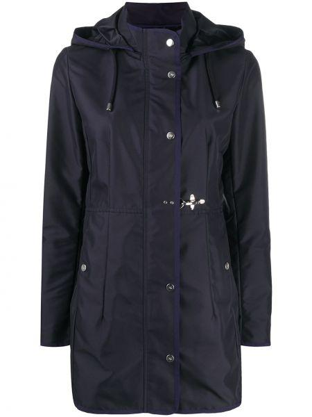 Хлопковая синяя длинное пальто с капюшоном Fay