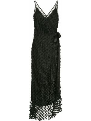 Черное расклешенное платье миди с вышивкой Manning Cartell