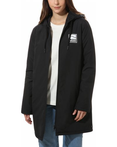 Куртка с капюшоном черная длинная Vans
