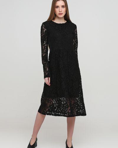 Гипюровое черное платье макси с круглым вырезом Kookai
