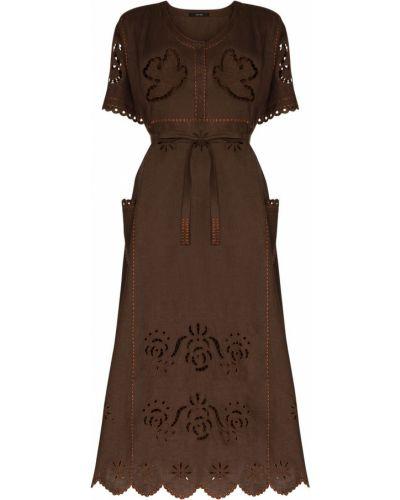 Свободное коричневое с рукавами платье мини Vita Kin