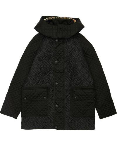 Puchaty czarny płaszcz prążkowany z łatami Burberry