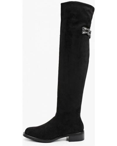 Текстильные черные ботфорты Inario