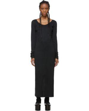 Платье макси с отложным воротником черное Raquel Allegra