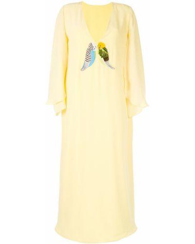 Желтое платье миди с вышивкой свободного кроя на молнии Pose Arazzi