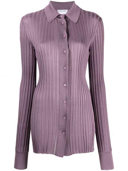 Klasyczna fioletowa klasyczna koszula z długimi rękawami Bottega Veneta