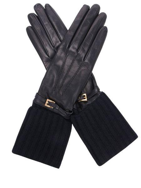 Черные шелковые кожаные перчатки на резинке с манжетами Prada